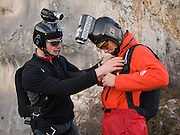 Leo Houlding and Tim Emmett preparing to BASE jump from Monte Brento, Italy