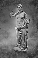 Aphrodite- type known as the Venus of Arles. A Roman statue in marble of the 1st - 2nd century AD in marble from Rome. The statue is a 1.94-metre-high (6.4ft) and is  probably a copy of the Aphrodite of Thespiae a lost bronze sculpture by 4th century BC Greek Athenian sculpture Praxiteles . From the Royal collection Inv MR 366 ( or Ma 437), Louvre Museum, Paris. . Black and White Wall art print by Photographer Paul E Williams