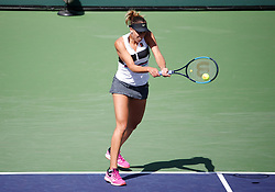 March 9, 2019 - Indian Wells, CA, U.S. - INDIAN WELLS, CA - MARCH 09: Madison Keys (USA) hits a backhand during the second round of the BNP Paribas Open on March 09, 2019, at the Indian Wells Tennis Gardens in Indian Wells, CA. (Photo by Adam Davis/Icon Sportswire) (Credit Image: © Adam Davis/Icon SMI via ZUMA Press)