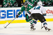 DALLAS, TX - OCTOBER 17:  Erik Cole #72 of the Dallas Stars controls the puck against the San Jose Sharks on October 17, 2013 at the American Airlines Center in Dallas, Texas.  (Photo by Cooper Neill/Getty Images) *** Local Caption *** Erik Cole
