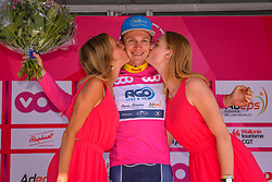 July 28, 2018 - Les Bons Villers, BELGIUM - Belgian Lionel Taminiaux celebrates on the podium wearing the pink jersey for best sprinter after the first stage of the Tour De Wallonie cycling race, 193,4 km from La Louviere to Les Bons Villers, on Saturday 28 July 2018. BELGA PHOTO LUC CLAESSEN (Credit Image: © Luc Claessen/Belga via ZUMA Press)