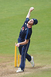 England's Ben Stokes bowls during the nets session at Cardiff Wales Stadium.