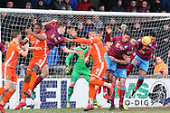 A goalmouth scramble in the Scunthorpe United goal during the EFL Sky Bet League 1 match between Scunthorpe United and Shrewsbury Town at Glanford Park, Scunthorpe, England on 17 March 2018. Picture by Mick Atkins.