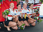 Amsterdam. NETHERLANDS.  GER W4X Gold Medalist: Bow. Annekatrin THIELE, Carina BAER, Julia<br /> LIER and Lisa SCHMIDLA, Gold  Medalist.  Bosbaan Rowing Course. 2014 World Rowing Champions . 14:29:11  Saturday  DATE}  [Mandatory Credit; Peter Spurrier/Intersport-images]