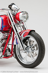 Avon Bike by Arlen Ness. This bike featured a 230x15 Avon Rear tire, the widest tire available at the time. The motor is a 100-inch S&S big twin. Appears in the book The King of Choppers, by Michael Lichter and Arlen Ness.