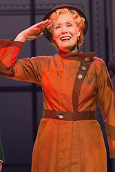 © Licensed to London News Pictures. 30/01/2015. London, England. Pictured: Jane Wymark as Evangeline Harcourt. The Sheffield Crucible Theatre production of Cole Porter's classic musical comedy, Anything Goes, opens at the New Wimbledon Theatre, London, before embarking on a UK tour. Opening on 29 January and running to 7 February 2015, the musical is directed by Daniel Evans with Debbie Kurup as Reno and Matt Rawl as Billy, featuring Hugh Sachs, Simon Rouse and Jane Wymark. Photo credit: Bettina Strenske/LNP