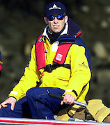 Peter Spurrier Sports  Photo<br />email pictures@rowingpics.com<br />Tel 44 (0) 7973 819 551<br />Pic No. - Tideway_Week_Fri_039<br />Photo Peter Spurrier<br />29/03/2002<br />2002 Varsity Boat Race-Tideway week<br />Fri training session<br />Oxford Chief Coach Sean Bowden 20020327 University Boat Race, [Varsity],  Tideway Week. Putney. London