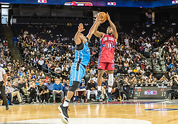 July 6, 2018 - Oakland, CA, U.S. - OAKLAND, CA - JULY 06: Nate Robinson (11) co-captain of Tri-State takes a jump shot from the paint with Cuttino Mobley (5) co-captain of Power guarding during game 3 in week three of the BIG3 3-on-3 basketball league on Friday, July 6, 2018 at the Oracle Arena in Oakland, CA (Photo by Douglas Stringer/Icon Sportswire) (Credit Image: © Douglas Stringer/Icon SMI via ZUMA Press)