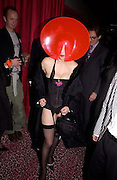 Isabella Blow, Tanqueray Philip Treacy couture fashion show and after party,  Pink Paradise Club, Paris. 21 January 2003. © Copyright Photograph by Dafydd Jones 66 Stockwell Park Rd. London SW9 0DA Tel 020 7733 0108 www.dafjones.com