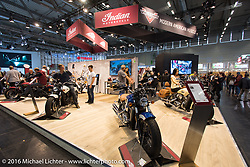 Indian Motorcycles display at the Intermot Motorcycle Trade Fair. Cologne, Germany. Sunday October 9, 2016. Photography ©2016 Michael Lichter.