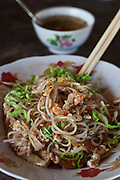 Fried noddle with prawns, served in a little street restaurant near Maungmagan village, Dawei, Burma.<br /> Note: Images are not distributed or sold in Portugal