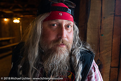 Milwaukee Mike Johnston at the Spur Creek Ranch on the Cycle Source Ride during the 78th annual Sturgis Motorcycle Rally. Sturgis, SD. USA. Wednesday August 8, 2018. Photography ©2018 Michael Lichter.
