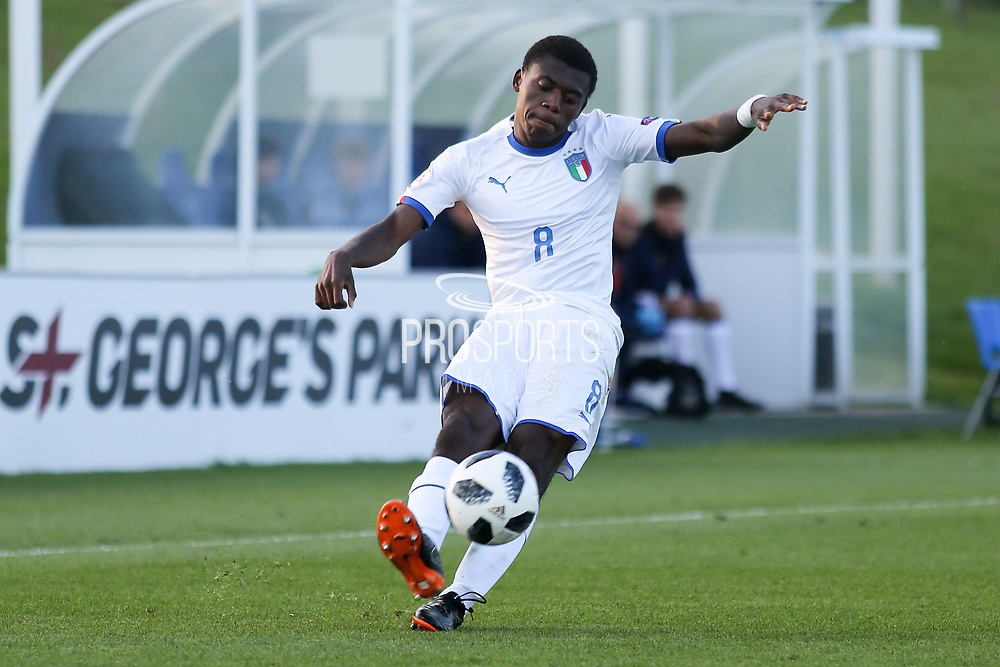 Manu Emmanuel Gyabuaa of Italy (8) crosses the ball during the UEFA European Under 17 Championship 2018 match between Israel and Italy at St George's Park National Football Centre, Burton-Upon-Trent, United Kingdom on 10 May 2018. Picture by Mick Haynes.