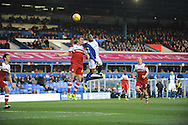 Middlesbrough's Dean Whitehead challenges Aaron McLean for a header during the Skybet football league championship match, Birmingham city v Middlesbrough at St.Andrew's in Birmingham, England on Sat 7th Dec 2013. pic by Jeff Thomas/Andrew Orchard sports photography.