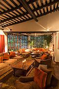 Lounge inside Inkaterra Hotel located below Machu Picchu, Cusco Region, Urubamba Province, Machupicchu District in Peru, South America