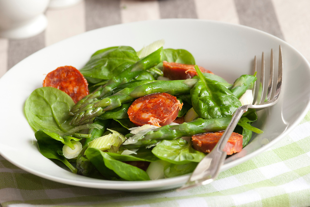 Asparagus, Chorizo and baby spinach salad