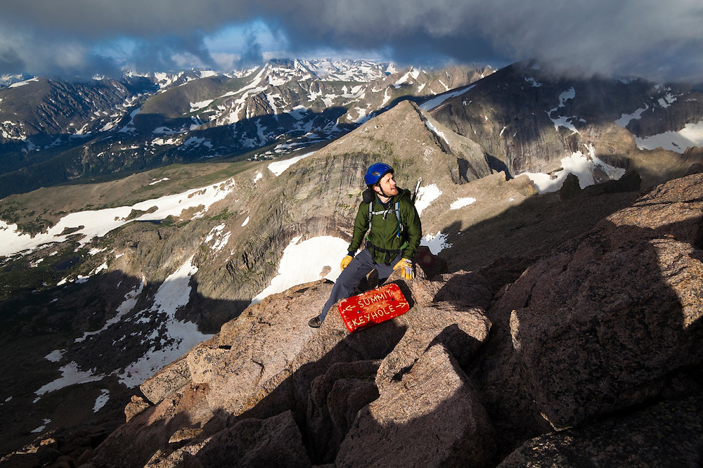 James Meldrum scrambles the Homestretch to the summit of Longs Peak, Rocky Mountain National Park, Colorado.