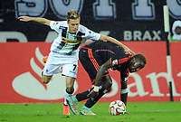 Fotball<br /> Tyskland<br /> 24.09.2014<br /> Foto: Witters/Digitalsport<br /> NORWAY ONLY<br /> <br /> v.l. Patrick Herrmann, Johan Djourou (HSV)<br /> Fussball Bundesliga, Borussia Mönchengladbach - Hamburger SV