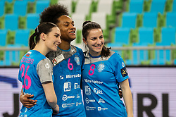 Tija Gomilar Zickero, Oceane Sercien Ugolin and Ema Abina of Krim celebrate after winning during 1st Leg handball match between RK Krim Mercator (SLO) and CSKA Moscow (RUS) in the Round of 16 of Delo EHF Women's Champions League 2020/21, on March 6, 2021 in Arena Stozice, Ljubljana, Slovenia. Photo by Vid Ponikvar / Sportida