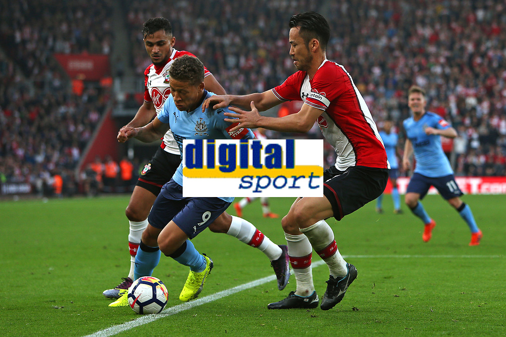 Football - 2017 / 2018 Premier League - Southampton vs. Newcastle United<br /> <br /> Southampton's Maya Yoshida put his hands on Dwight Gayle of Newcastle United at St Mary's Stadium Southampton<br /> <br /> COLORSPORT/SHAUN BOGGUST