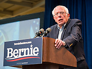 """09 NOVEMBER 2019 - DES MOINES, IOWA: US Senator BERNIE SANDERS (I-VT) speaks at a climate change town hall organized by Sanders' presidential campaign. Sanders and Rep. Alexandria Ocasio-Cortez hosted the """"Climate Crisis Summit"""" at Drake University in Des Moines. More than 2,000 people attended the event. Sanders, an independent, is running to be the Democratic nominee for the 2020 US Presidential election. Iowa holds the first in the country selection contest with state caucuses on Feb. 3, 2020.               PHOTO BY JACK KURTZ"""