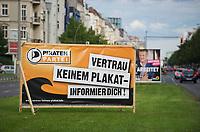 DEU, Deutschland, Germany, Berlin, 28.08.2011:<br />Ein Wahlplakat der Piratenpartei  auf der Frankfurter Allee in Friedrichshain.