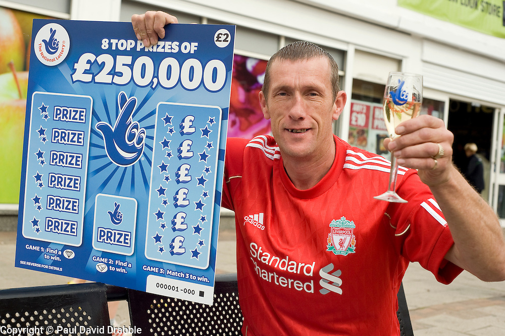National Lottery £250,000 Scratchcard Winner outside the Co-op Store where he purchased his prize winning ticket  in Goldthorpe   6th September 2010 .Images © Paul David Drabble..National Lottery Scratchcard £250,000  Winner Mark Camplin, a self Employed joiner, outside the Goldthorpe Co-op Store where he purchased his prize winning ticket ..6th September 2010 .Images © Paul David Drabble..