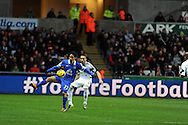 Everton's Steven Pienaar holds off Swansea city's Chico Flores. Barclays Premier league, Swansea city v Everton at the Liberty Stadium in Swansea,  South Wales on Sunday 22nd Dec 2013. pic by Andrew Orchard, Andrew Orchard sports photography.