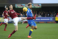 Northampton Town defender Joe Bunney (39) performing last ditch tackle on AFC Wimbledon striker Lyle Taylor (33) during the EFL Sky Bet League 1 match between AFC Wimbledon and Northampton Town at the Cherry Red Records Stadium, Kingston, England on 10 February 2018. Picture by Matthew Redman.