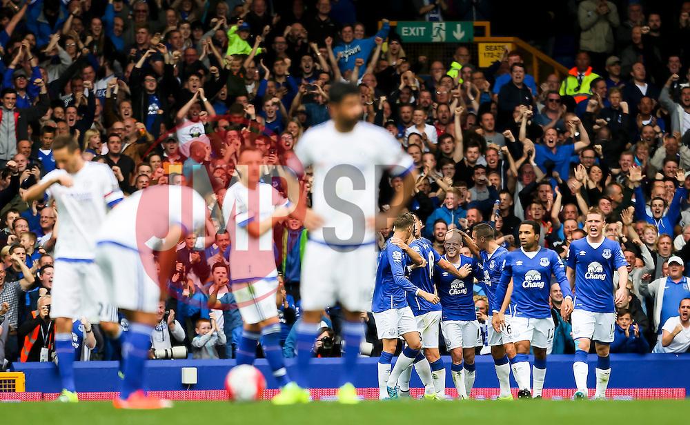 Everton's Steven Naismith celebrates after scoring his sides third goal and hat-trick - Mandatory byline: Matt McNulty/JMP - 07966386802 - 12/09/2015 - FOOTBALL - Goodison Park -Everton,England - Everton v Chelsea - Barclays Premier League