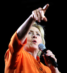 Democratic presidential nominee Hillary Clinton delivers remarks during a rally at the Osceola Heritage Park Exhibition Hall on Monday, Aug. 8, 2016 in Kissimmee, Fla. Earlier in the day, Clinton campaigned in St. Petersburg, FL, USA. Photo by Joe Burbank/Orlando Sentinel/TNS/ABACAPRESS.COM