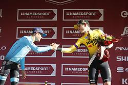March 9, 2019 - Siena, Italy - L-R, second Danish Jakob Fuglsang of Astana Pro Team and third Belgian Wout Van Aert of Team Jumbo-Visma celebrate on the podium of the Strade Bianche one day cycling race in Siena, Italy, Saturday 09 March 2019...BELGA PHOTO YUZURU SUNADA (Credit Image: © Yuzuru Sunada/Belga via ZUMA Press)