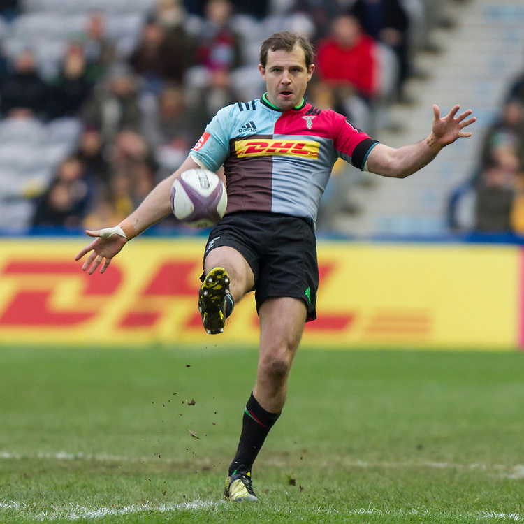 Nick Evans takes a penalty kick, Harlequins v Cardiff Blues in a European Challenge Cup match at Twickenham Stoop, Twickenham, London, England, on 17th January 2016