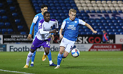 Louis Reed of Peterborough United in action with Shilow Tracey of Shrewsbury Town - Mandatory by-line: Joe Dent/JMP - 31/10/2020 - FOOTBALL - Weston Homes Stadium - Peterborough, England - Peterborough United v Shrewsbury Town - Sky Bet League One
