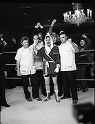 Nash vs Leon Championship Fight.    (N55)..1980..14.12.1980..12.14.1980..14th December 1980..At the Burlington Hotel, Dublin, Charlie Nash defended his European Lightweight Title when he took on Spain's Francesco Leon. .The fight over Charlie Nash is pictured raising his hand in triumph after a unaminous decision by the judges.