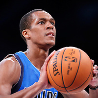 12 April 2014: Dallas Mavericks guard Rajon Rondo (9) is seen at the free throw line during the Dallas Mavericks 120-106 victory over the Los Angeles Lakers, at the Staples Center, Los Angeles, California, USA.