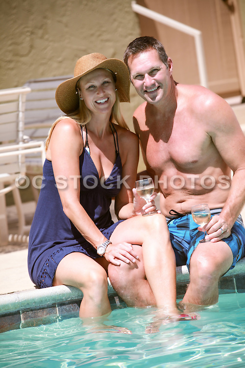 Good Looking Middle Aged Couple at the Pool