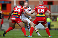 Bradford Bulls loose forward Damian Sironen (10) in action  during the Kingstone Press Championship match between Dewsbury Rams and Bradford Bulls at the Tetley's Stadium, Dewsbury, United Kingdom on 10 September 2017. Photo by Simon Davies.