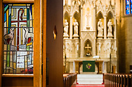 Stained glass depicting the Good Shepherd on Saturday, Jan. 16, 2021, at Zion Lutheran Church, Fort Wayne, Indiana. LCMS Communications/Erik M. Lunsford