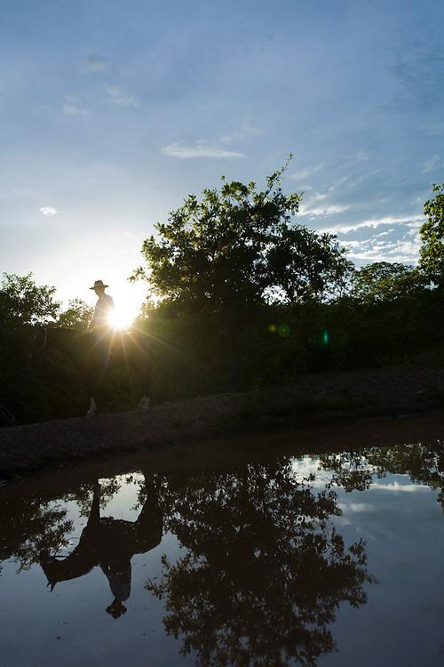 Januaria_MG, Brasil...A fazenda Agroecologica Soma, se intitula uma fazenda produtora de agua. Localiza no municipio de Januaria, a 250 km de Montes Claros, usa a tecnica de Barraginhas ou Bacias de Captacao de Agua de Chuva para recuperar os lencois freaticos e consequentemente os rios da regiao. Em 2005, foram construidas mais de 300 barraginhas na regiao, e acredita-se que o volume de agua dos lencois freaticos cresceu, inclusive com a recuperacao de um rio que corta a propriedade...Na foto, detalhe de uma barraginha na fazenda...The Soma Agroecology farm, is called a farm producing water. Located in the city of Januaria, 250 km from Montes Claros, uses the technique  rainwater catchment to recover the ground water and consequently the rivers of the region. On 2005, they built 300 dam or rainwater catchment in the region, and it is believed that the volume of water of groundwater has grown, including the recovery of a river in the property...In this photo the dam in the farm...Foto: BRUNO MAGALHAES / NITRO