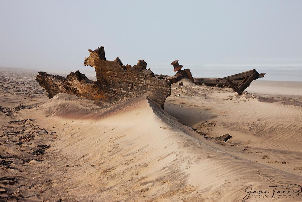 A shipwreck in fog along the Skeleton Coast,  Skeleton Coast, Namibia
