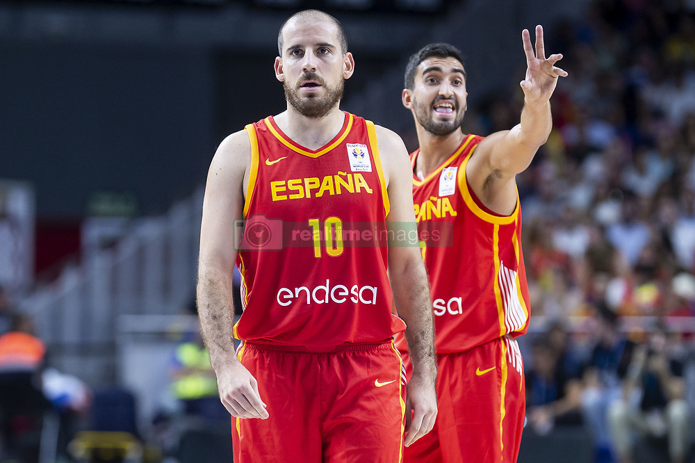 September 17, 2018 - Madrid, Spain - Joaquin Colom and Jaime Fernandez of Spain during the FIBA Basketball World Cup Qualifier match Spain against Latvia at Wizink Center in Madrid, Spain. September 17, 2018. (Credit Image: © Coolmedia/NurPhoto/ZUMA Press)