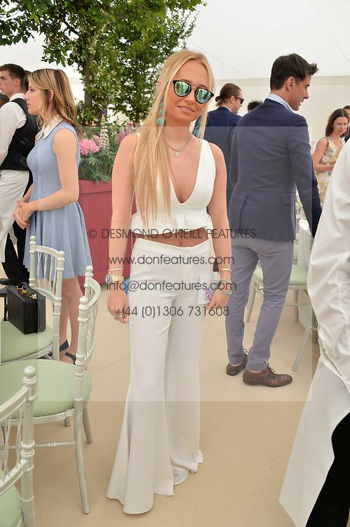 The Hon.Eleanor Wellesley at Cartier Queen's Cup Polo, Guard's Polo Club, Berkshire, England. 18 June 2017.<br /> Photo by Dominic O'Neill/SilverHub 0203 174 1069 sales@silverhubmedia.com
