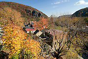 Little houses in Harpers Ferry, sourrounded by trees. Maryland. United States of America.