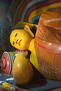 Subodraramaya Buddhist Temple, in Dehiwala.<br /> Reclining Buddha in the shrine room.