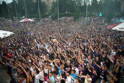 Fans at ceremony after last football match of PrvaLiga Telekom Slovenije between NK Maribor and NK Interblock, when Maribor became a Slovenian National Champion, on May 23, 2009, in Ljudski vrt, Maribor. (Photo by Marjan Kelner/Sportida)