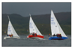 The second days racing at the Bell Lawrie Yachting Series in Tarbert Loch Fyne ...Strong winds, high seas and heavy rain dominated the day..National Sonata Class  GBR8192N Random FFD, GBR8145 Scuples, GBR8217N So....FAO Magazine Edit..All images incur reproduction cost..Mandatory Credit Copyright :.Marc Turner / PFM Pictures