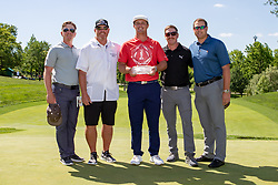 June 3, 2018 - Dublin, OH, U.S. - DUBLIN, OH - JUNE 03: Bryson DeChambeau poses with the Memorial Tournament trophy after winning the second round playoff of the Memorial Tournament at Muirfield Village Golf Club in Dublin, Ohio on June 03, 2018.(Photo by Adam Lacy/Icon Sportswire) (Credit Image: © Adam Lacy/Icon SMI via ZUMA Press)