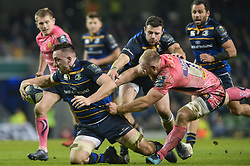 December 16, 2017 - Dublin, Ireland - Jack Conan of Leinster team in action challenged by Matt Kvesic of Exeter Chiefs during the  European Rugby Champions Cup rugby match at Aviva Stadium...On Saturday, 16 December 2017, in Dublin, Ireland. (Credit Image: © Artur Widak/NurPhoto via ZUMA Press)