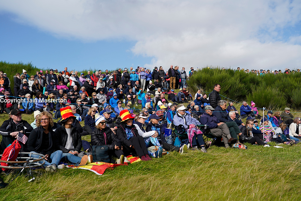 Auchterarder, Scotland, UK. 15 September 2019. Sunday Singles matches on final day  at 2019 Solheim Cup on Centenary Course at Gleneagles. Pictured; Large crowd of spectators beside fairway at 9th hole. Iain Masterton/Alamy Live News